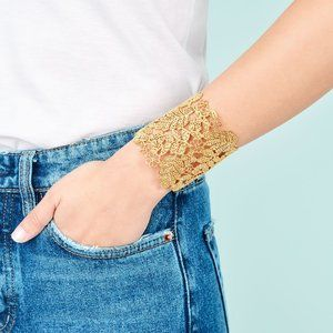 Gold Chantilly Lace Cuff Bracelet- NEW with box